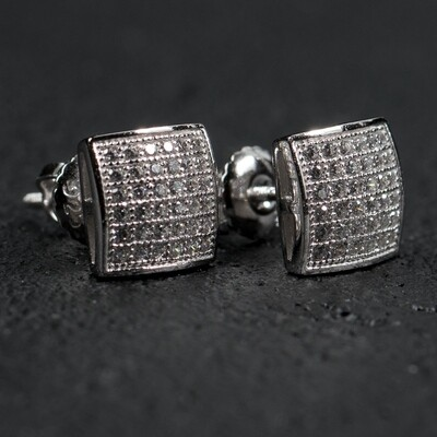 Mens Hip Hop Small Square Iced Sterling Silver Earrings