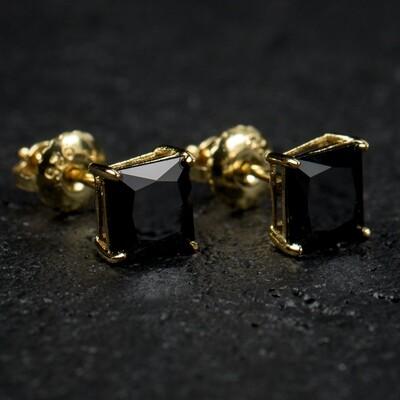 Mens Small Gold Black Onyx Screw Back Stud Earrings
