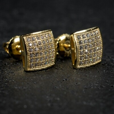 Mens Square Iced Micro Pave Gold Stud Earrings