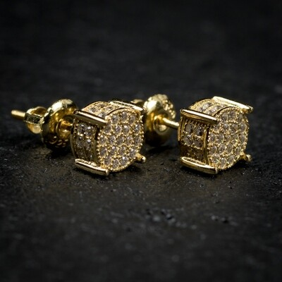 Mens 14K Yellow Gold 4 Prong Iced Bullet Earrings