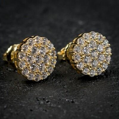 Mens Gold Flower Setting Cluster Stud Earrings