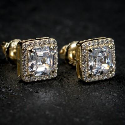 Square 14K Gold Iced Cz Emerald Cut Stud Earrings