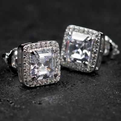 Mens Square Sterling Silver Iced Emerald Cut Earrings