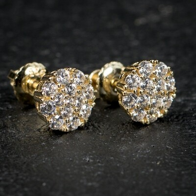Small Micro Round Gold Flower Set Cluster Earrings