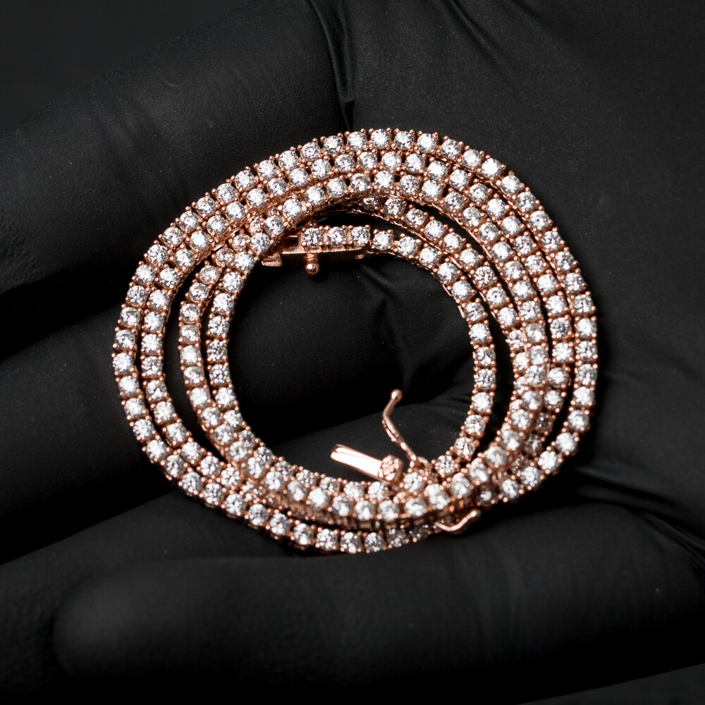Micro 925 Sterling Silver Rose Gold Tennis Chain