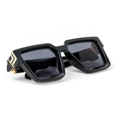 Mens Black Gold Trim Square Hip Hop Shades Sunglasses