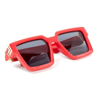 Mens Red Gold Trim Shades Retro Hendrix Sunglasses