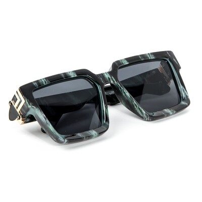 Mens Green And Gold Trim Square Hendrix Sunglasses