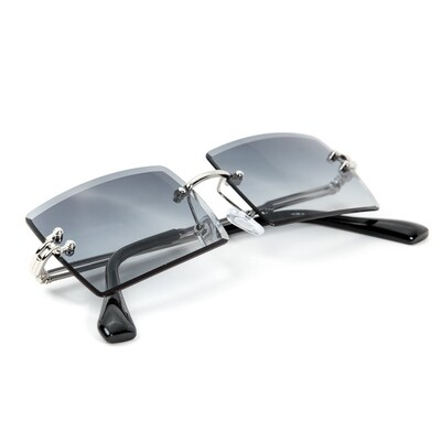 Mens Rimless Dark Gray Tint Rectangular Sunglasses