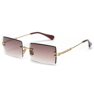 Mens Gold Brown Rectangle Tint Sunglasses