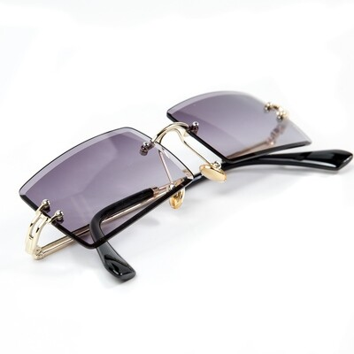 Mens Rimless Gold Frame Purple Tint Sunglasses