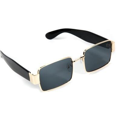 Mens Gold Frame Black Rectangle Sunglasses