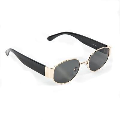 Mens Oval Black Tint Gold Frame Sunglasses