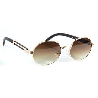 Men's Round Gold Frame Brown Tint Wood Sunglasses