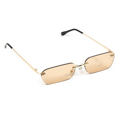 Mens Gold Frame Rimless Brown Tint Sunglasses