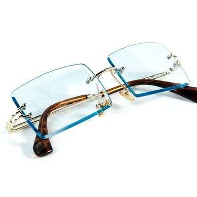 Mens Vintage Rimless Baby Blue Tint Sunglasses