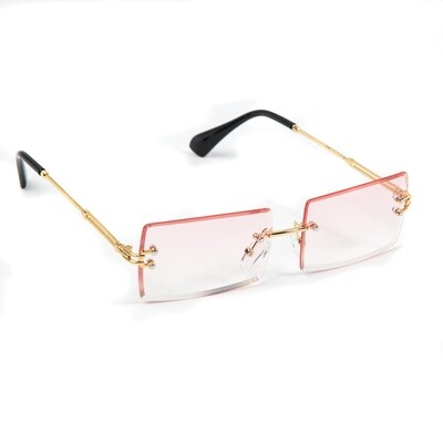Pink Rimless Rectangular Rose Gold Frame Sunglasses