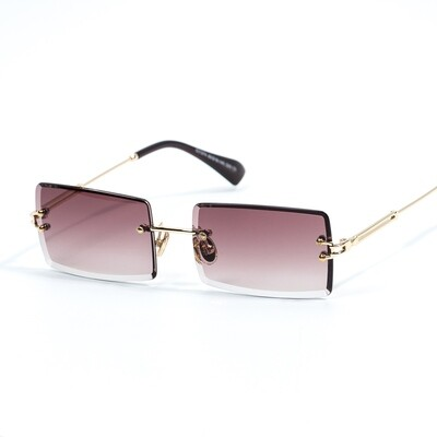 Mens Burgundy Tint Rectangular Rimless Sunglasses