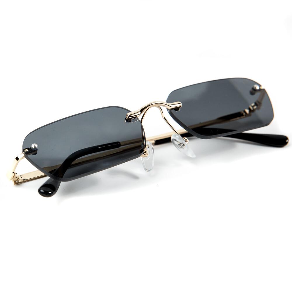 Vintage Black And Gold Men's Rimless Sunglasses