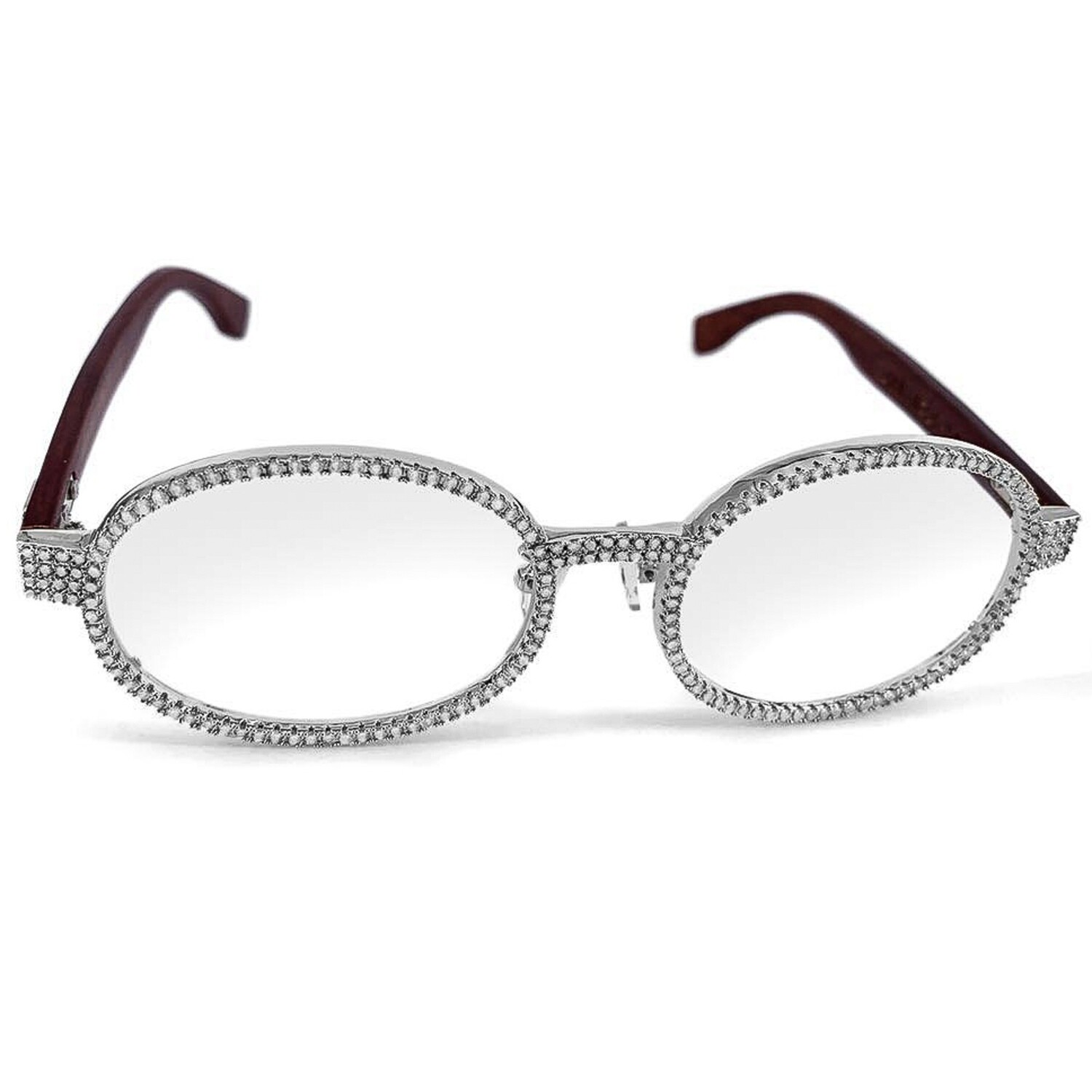 Iced White Gold Clear Lens Wood Frame Glasses