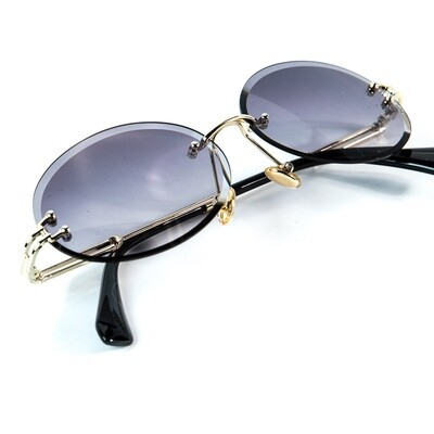 Mens Rimless Round Cut Vintage Purple Tint Sunglasses