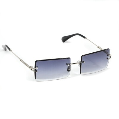Mens Silver Purple Tint Rimless Sunglasses