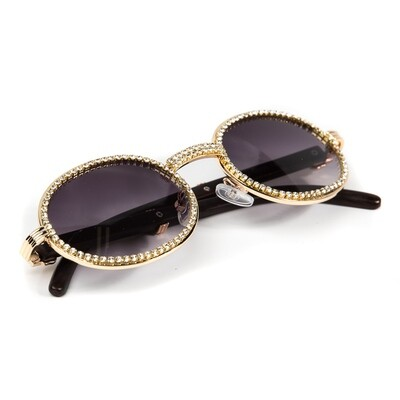 Iced Gold Frame Wood Purple Tint Men's Sunglasses