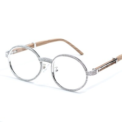 Mens Retro Vintage Silver Clear Lens Wood Iced Glasses