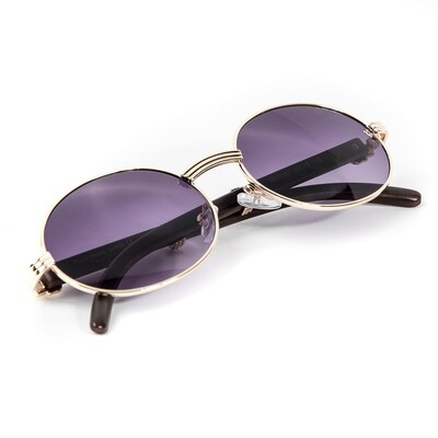 Men's Gold Frame Wood Purple Tint Oval Sunglasses