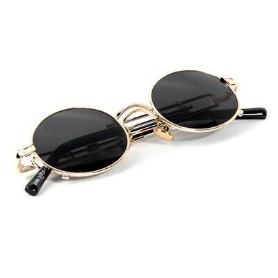 Gold Frame Round Black Dark Tint Vintage Sunglasses