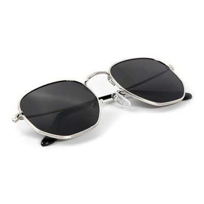 Silver Frame Black Tint Retro Summer Sunglasses