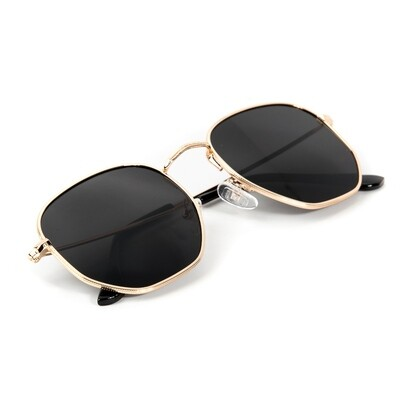Gold Frame Black Tint Retro Summer Sunglasses