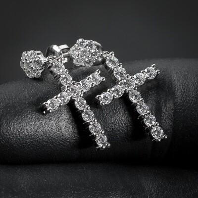 Men Cluster Sterling Silver Stud Dangle Cross Earrings