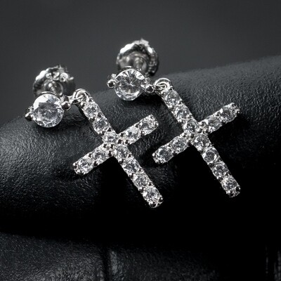 Small Sterling Silver Round Stud Dangle Cross Earrings