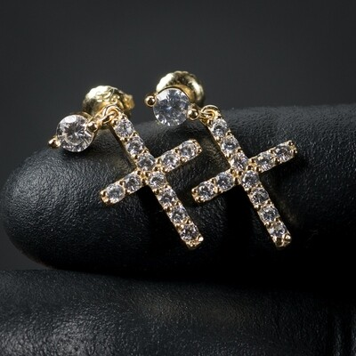 Men's Gold Sterling Silver Dangle Cross Stud Earrings