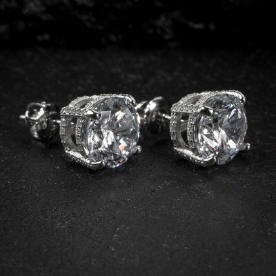 Men's Round Sterling Silver Solitaire Stud Earrings
