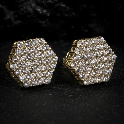 Gold Cluster Octagon Zig Zag Set Hip Hop Earrings