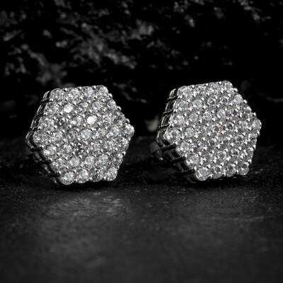 Sterling Silver Cluster Octagon Zig Zag Set  Earrings
