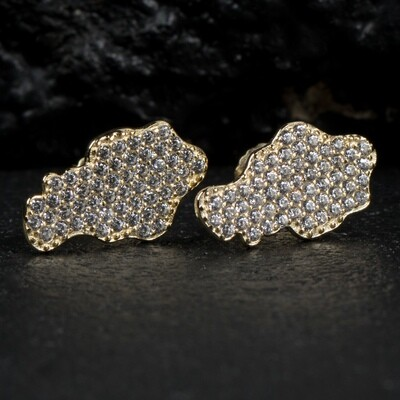 Mens Honey Comb Set Gold Iced Nugget Earrings