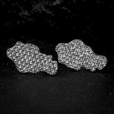 Mens Zig Zag Set Sterling Silver Iced Nugget Earrings