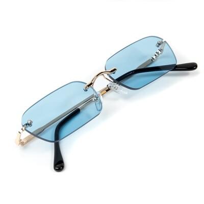 Mens Gold Rimless Baby Blue Tint Sunglasses