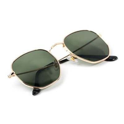 Gold Frame Green Tint Retro Summer Sunglasses