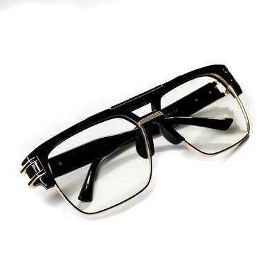 Mens Gold Frame Black Vintage Clear lens Glasses