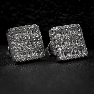 Mens Square Sterling Silver Iced Baguette Earrings