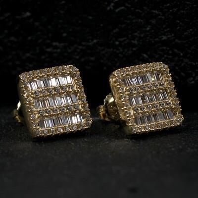 Mens Gold Square Sterling Silver Baguette Earrings