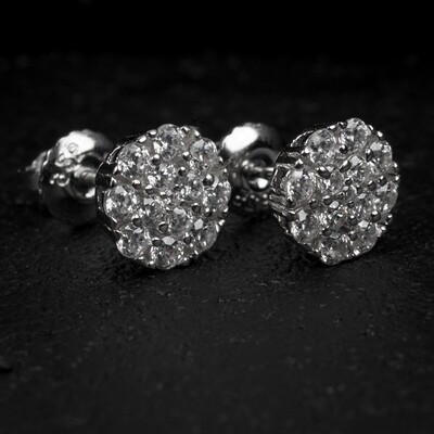 Small Micro Silver Flower Set Cluster Earrings