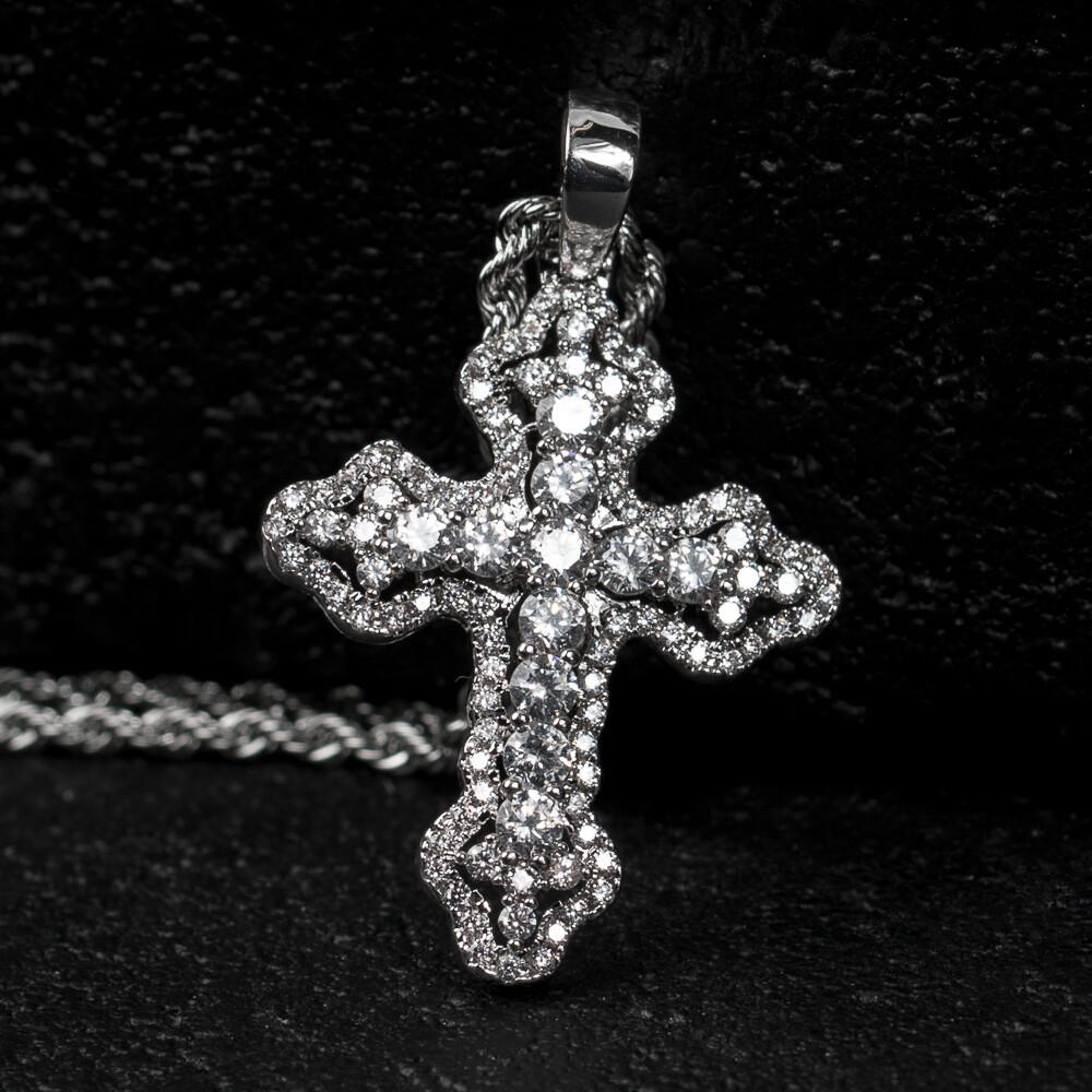 Small Silver Iced Mini Cross Pendant Necklace
