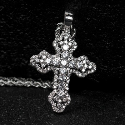 Small Silver Iced Mini Cross Pendant Necklace
