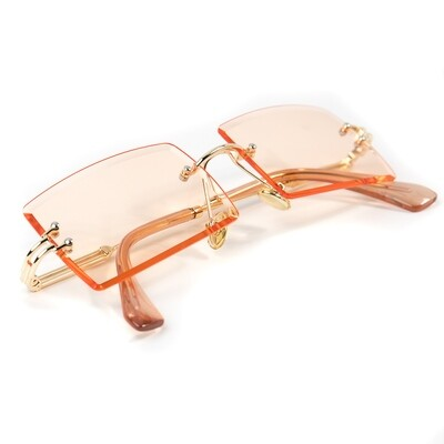 Mens Rimless Gold Rimless Melon Orange Sunglasses