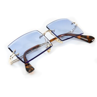 Mens Vintage Rimless Sky Blue Tint Sunglasses